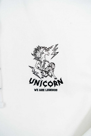Sweat Classique Blanc Zoom de face Unicorn