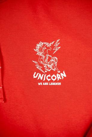 Sweat Classique Rouge Zoom de face Unicorn