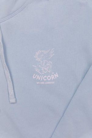 Sweat Classique Light Blue Zoom de face Unicorn