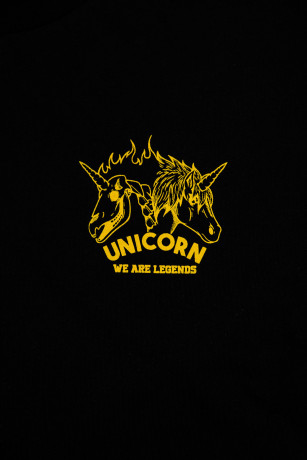 T-shirt collector classiue skeleton Noir et Jaune Zoom de face Unicorn