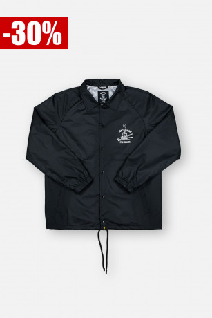 Coach Jacket Don't Panic Noire Vue de Face Unicorn