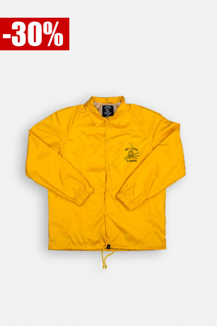 Coach Jacket Don't Panic Jaune Vue de Face Unicorn