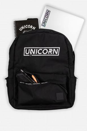 Schoolbag sac d'école ouvert avec fourniture vue de face Unicorn