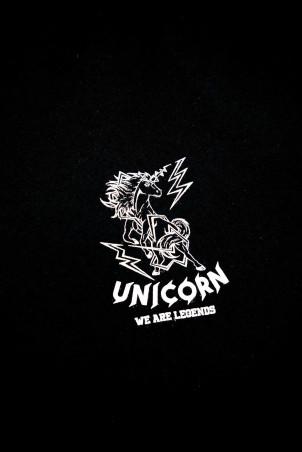 T-shirt Classique Noir Zoom de Face Unicorn