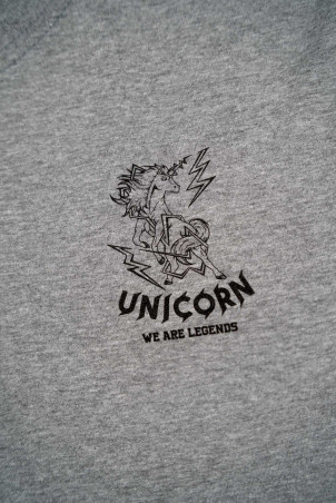 T-shirt Classique Gris Zoom de Face Unicorn