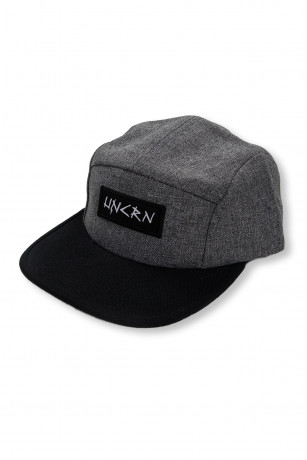 Casquette 5Panel Gris Heather Logo Typo vue de face Unicorn