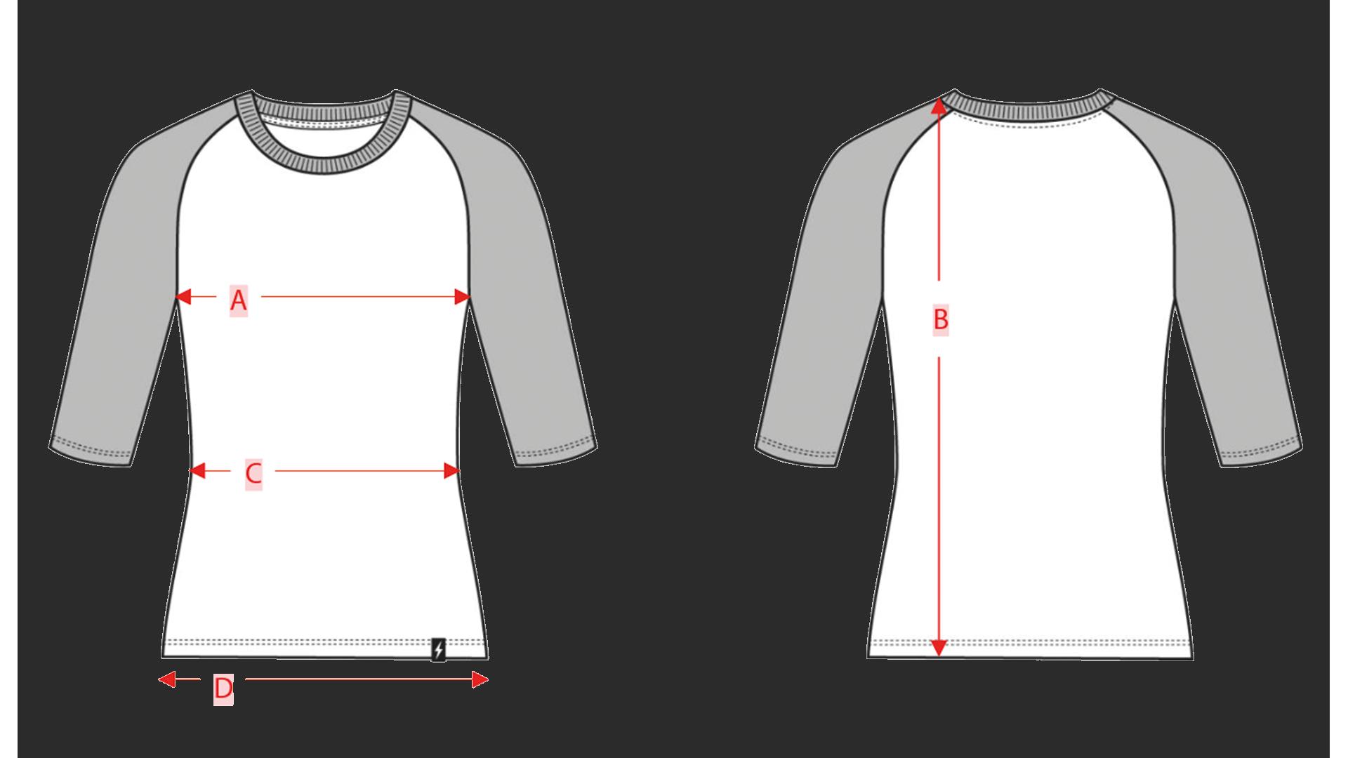 Size chart raglan women